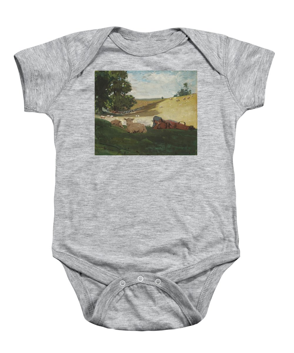 Warm Afternoon (shepherdess) By Winslow Homer Baby Onesie featuring the painting Warm Afternoon by Winslow Homer