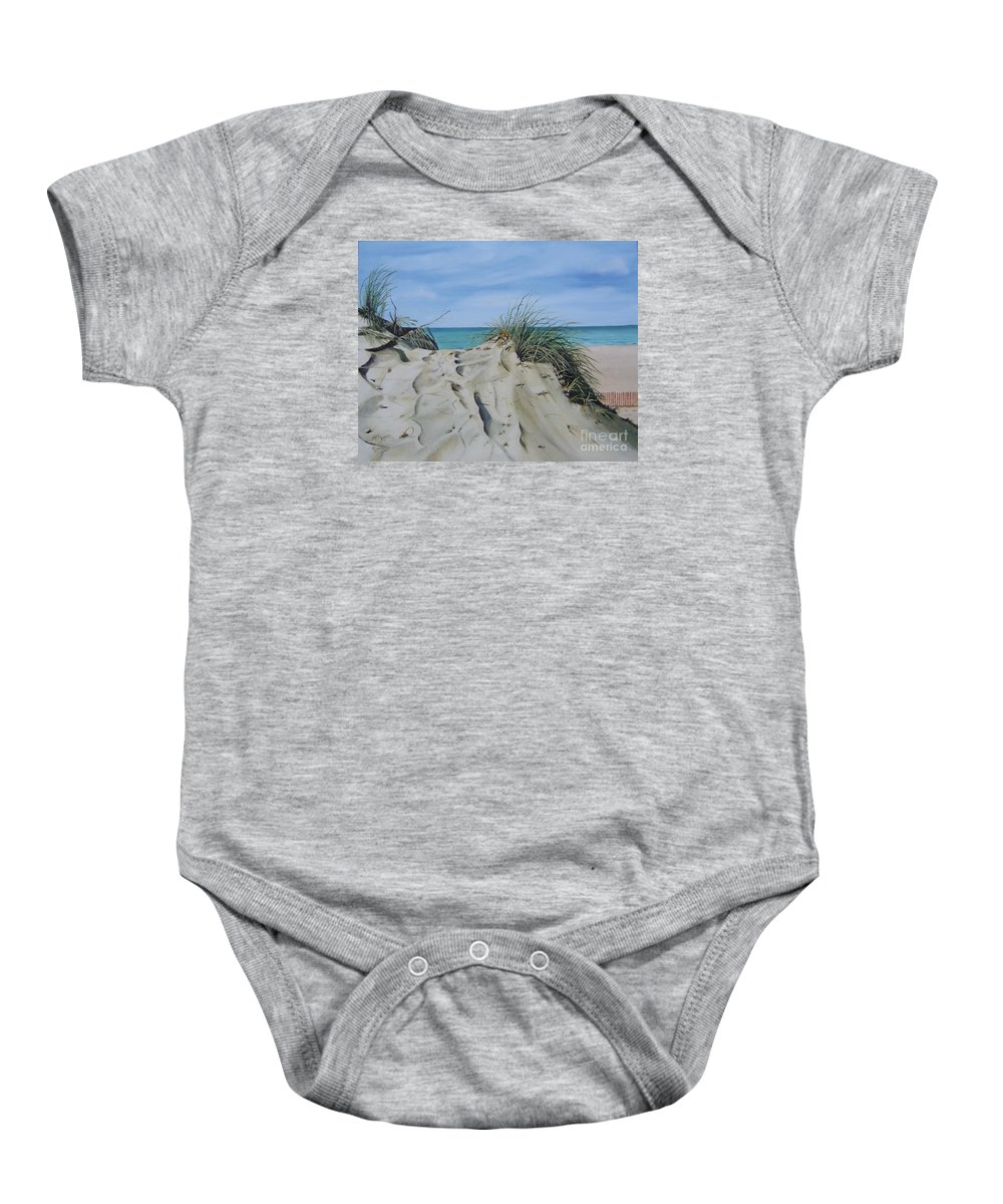 Lake Baby Onesie featuring the painting Warren Dunes by Mary Rogers