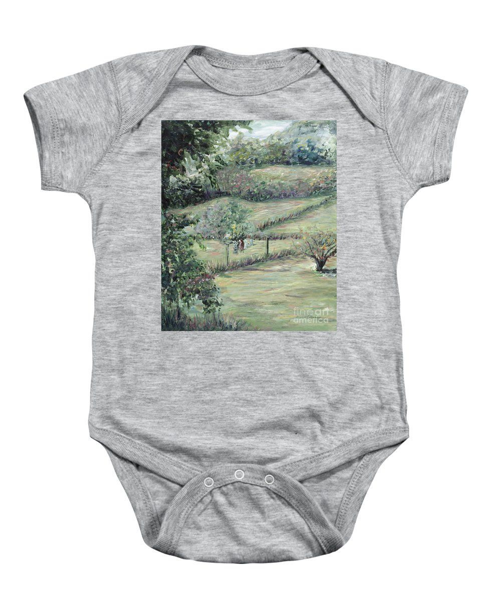 Landscape Baby Onesie featuring the painting Washday In Provence by Nadine Rippelmeyer