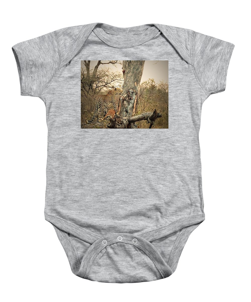 Leopard Baby Onesie featuring the photograph Watching by Lisa Byrne