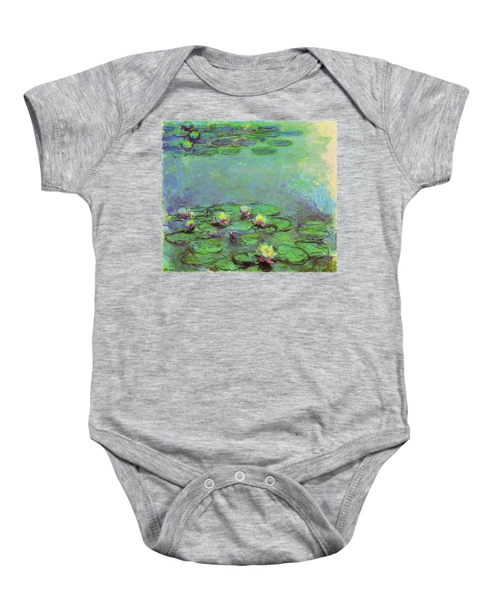Water Baby Onesie featuring the painting Water Lilies 1917 6 by Claude Monet