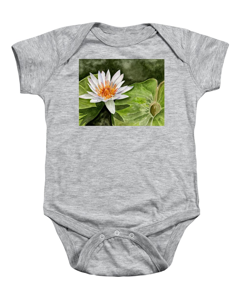 Flower Floral Water Lily Watercolor Baby Onesie featuring the painting Water Lily by Brenda Owen