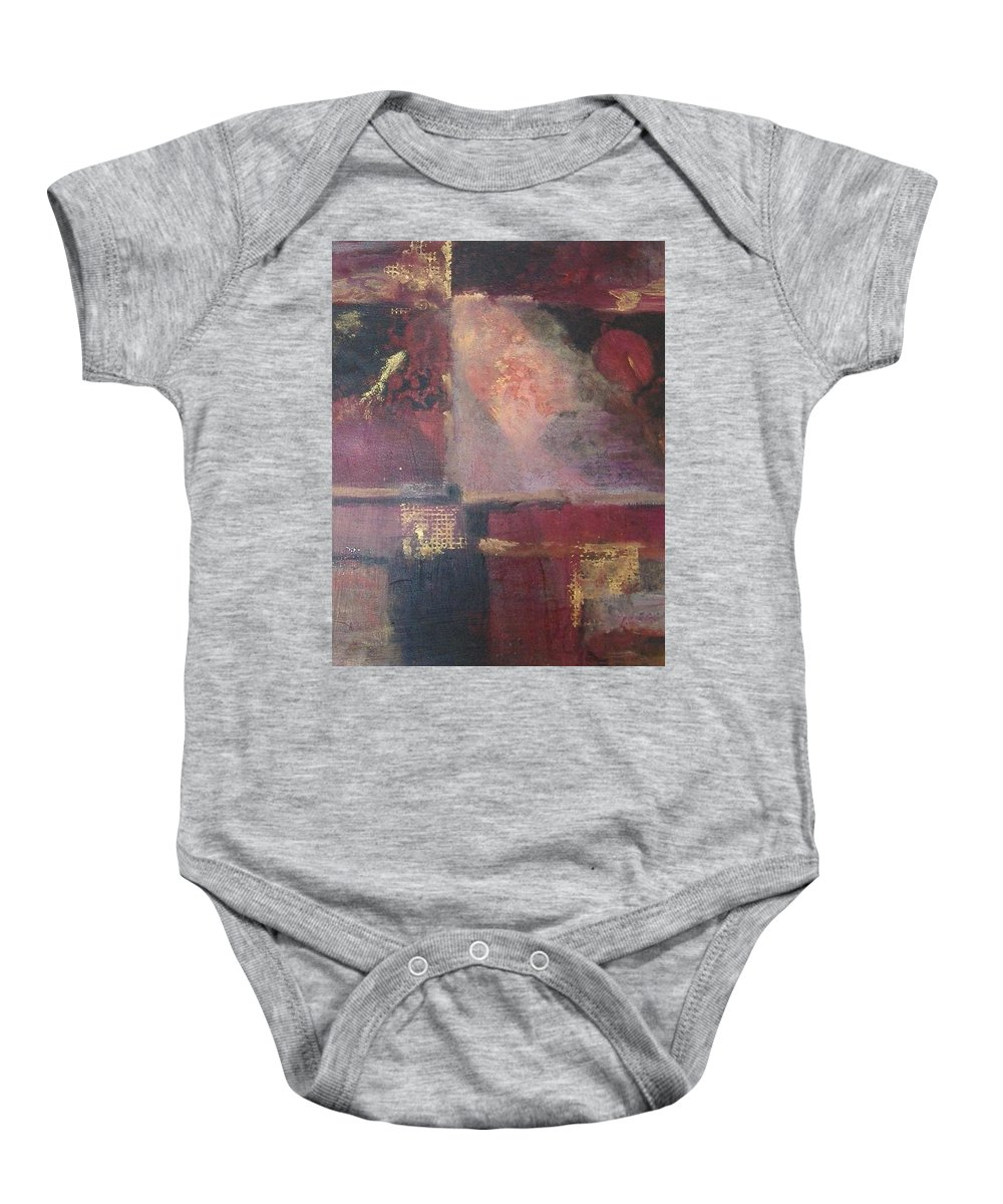 Abstract Baby Onesie featuring the mixed media Waterbucket by Pat Snook