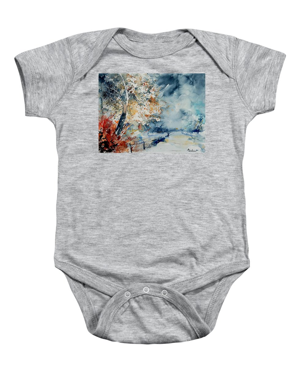 Landscape Baby Onesie featuring the painting Watercolo 2407063 by Pol Ledent