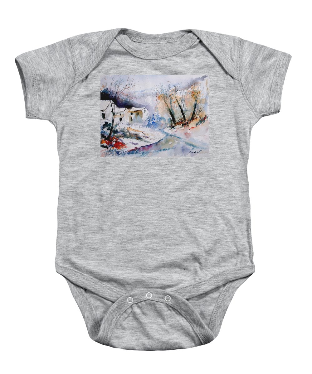 Winter Baby Onesie featuring the painting Watercolor 050408 by Pol Ledent