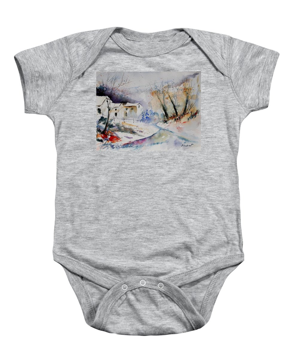Village Baby Onesie featuring the painting Watercolor 15823 by Pol Ledent