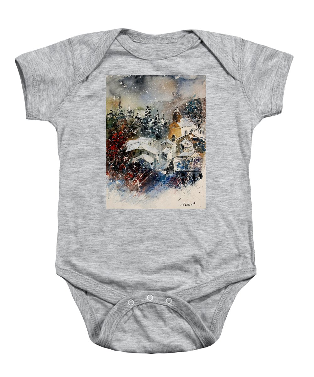 Winter Baby Onesie featuring the painting Watercolor 160908 by Pol Ledent