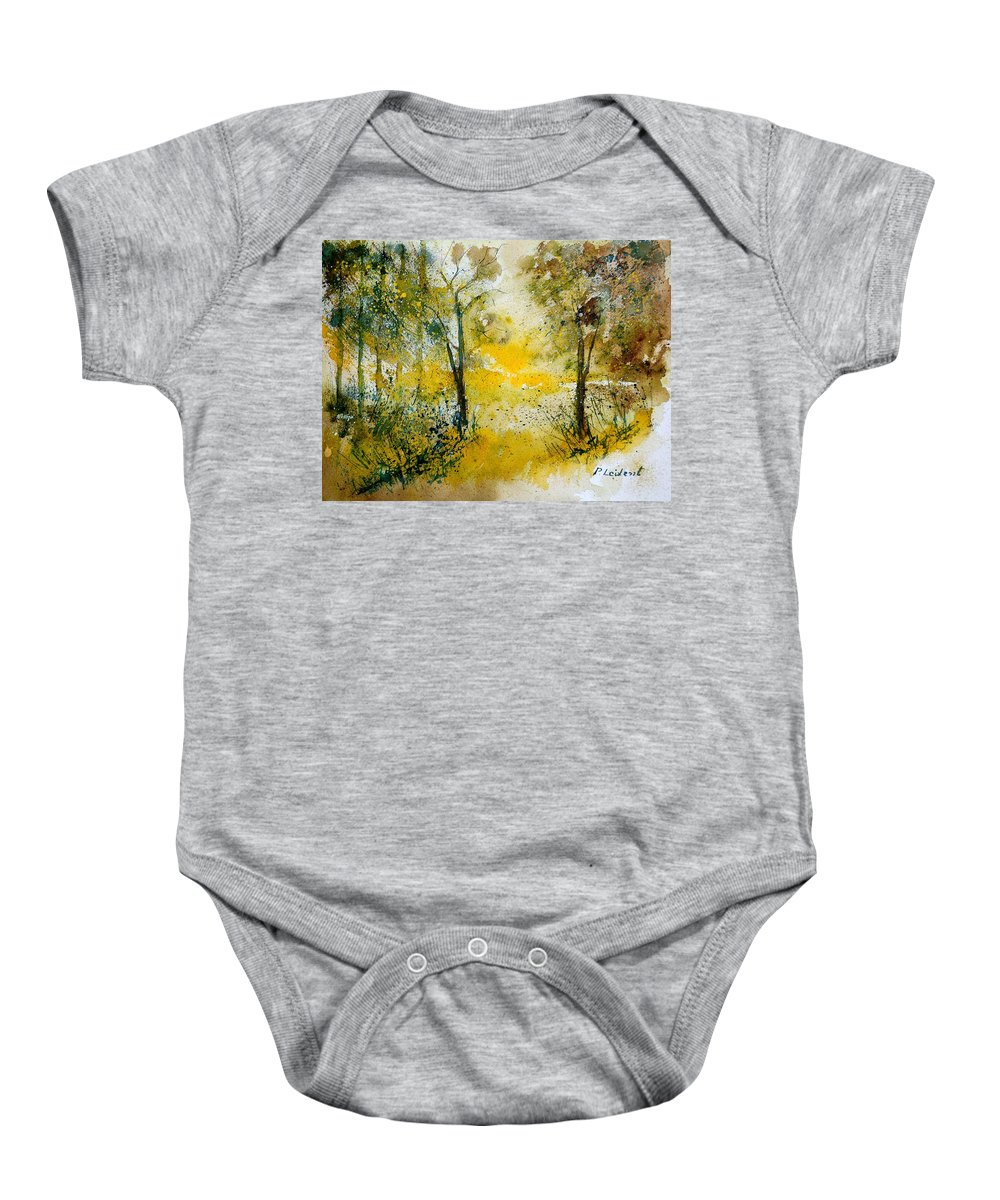 River Baby Onesie featuring the painting Watercolor 210108 by Pol Ledent