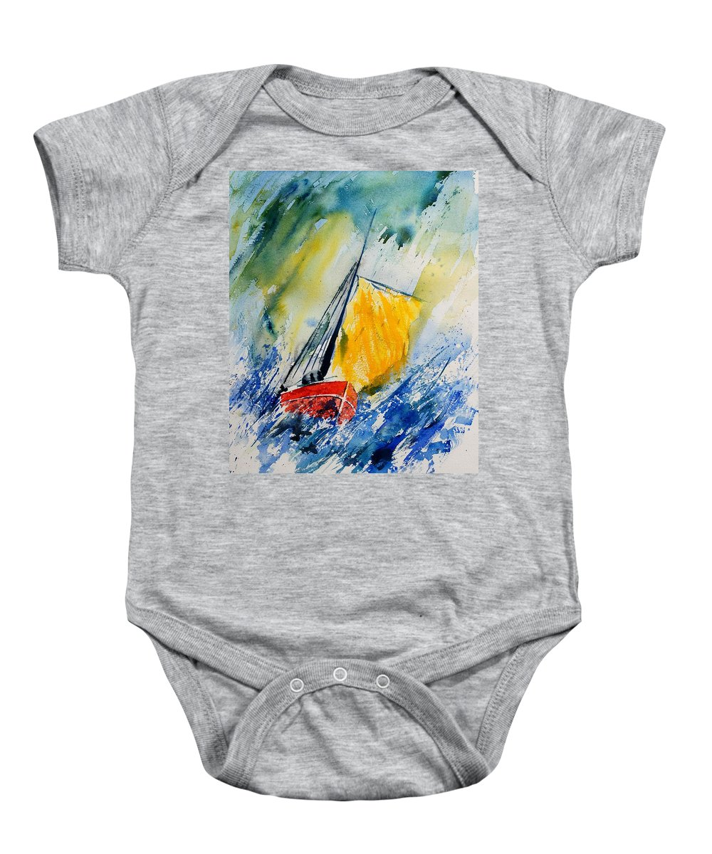 Sea Waves Ocean Boat Sailing Baby Onesie featuring the painting Watercolor 280308 by Pol Ledent