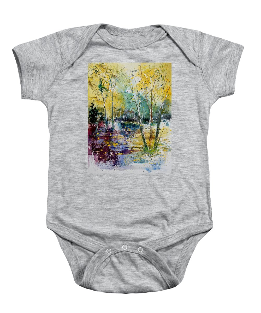 Pond Baby Onesie featuring the painting Watercolor 280809 by Pol Ledent