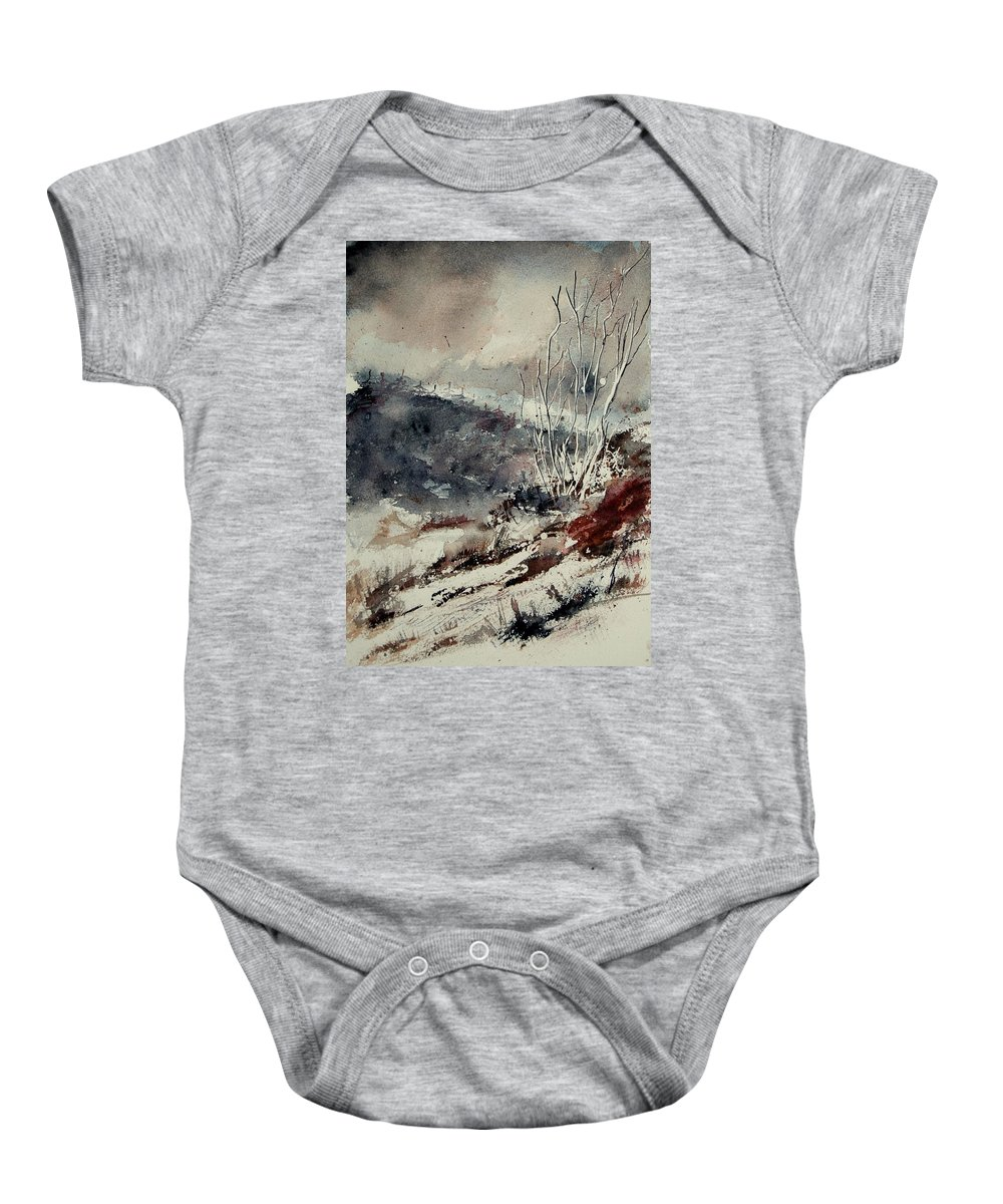 Snow Baby Onesie featuring the print Watercolor 446 by Pol Ledent