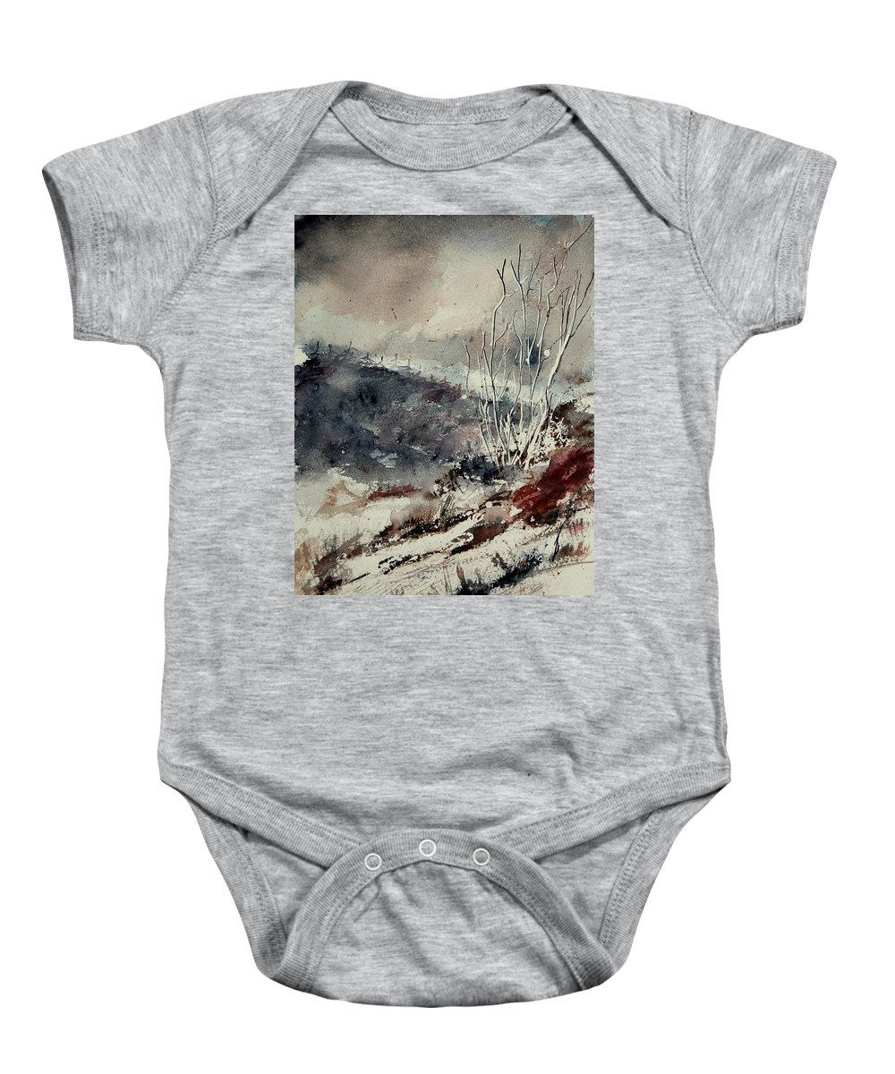 Snow Baby Onesie featuring the tapestry - textile Watercolor 446 by Pol Ledent