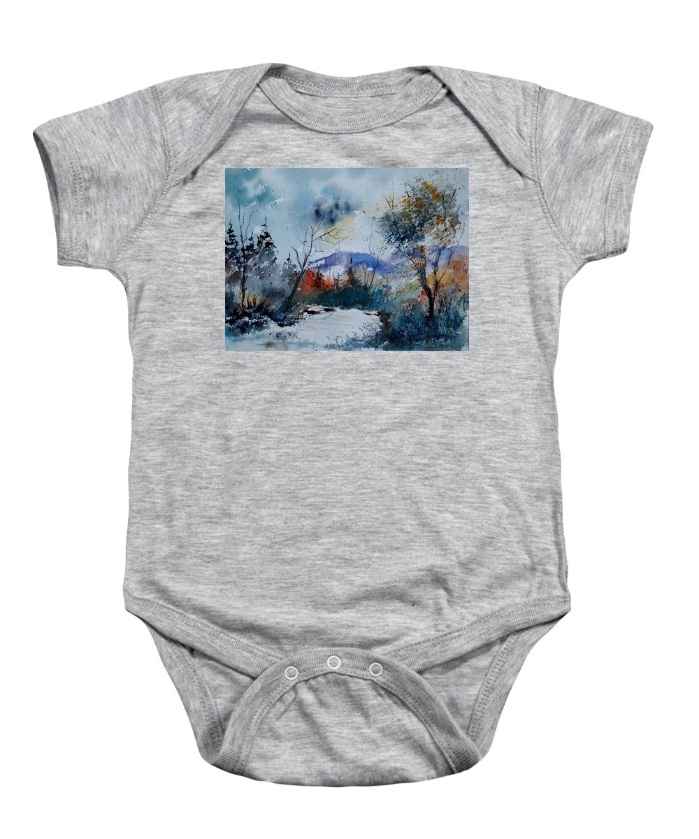 Landscape Baby Onesie featuring the painting Watercolor 802120 by Pol Ledent