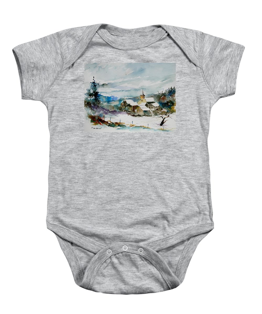 Winter Baby Onesie featuring the painting Watercolor 908011 by Pol Ledent