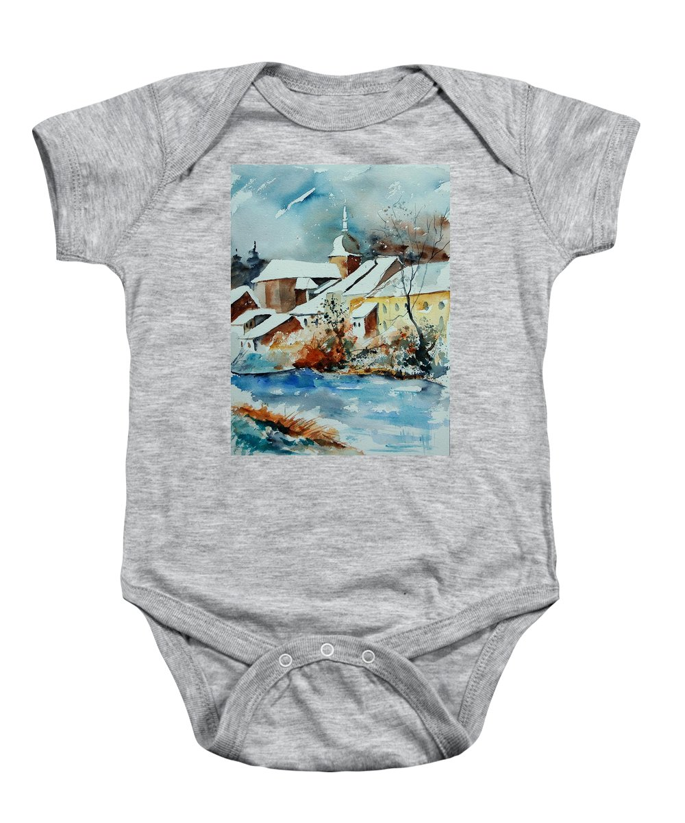 Landscape Baby Onesie featuring the painting Watercolor Chassepierre by Pol Ledent