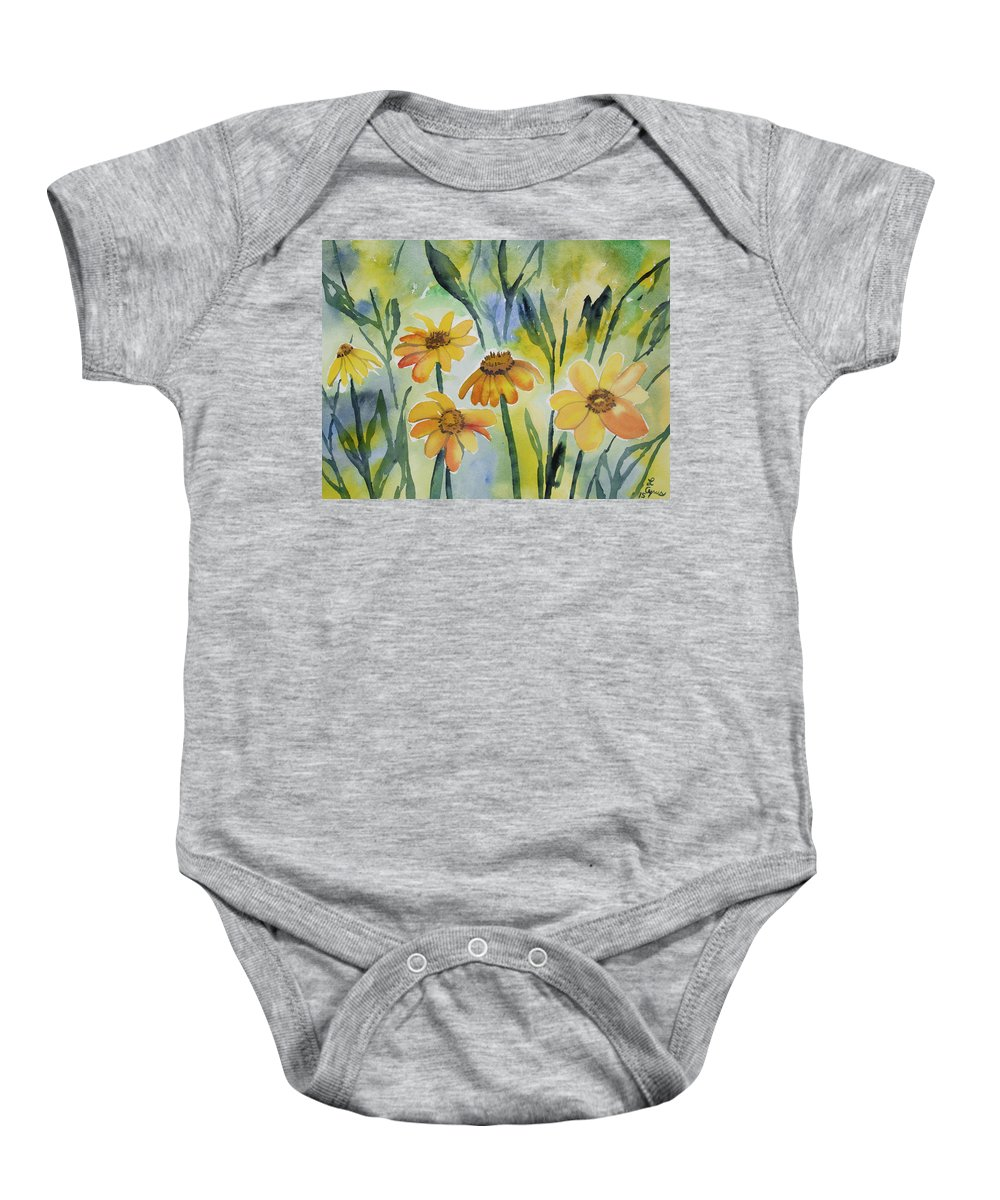 Colorado Baby Onesie featuring the painting Watercolor - Colorado Summer Wildflowers by Cascade Colors