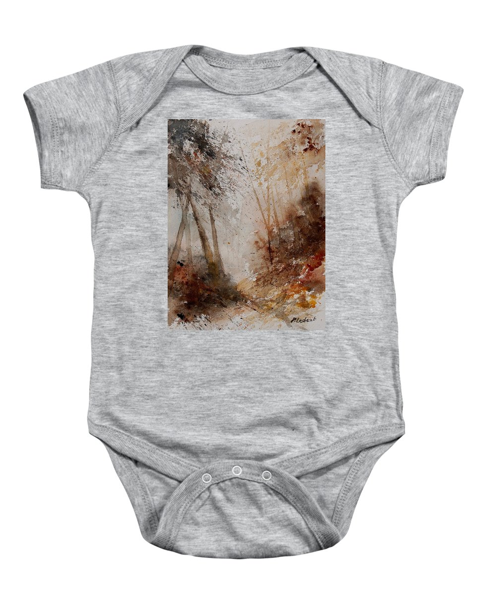 Landscape Baby Onesie featuring the painting Watercolor Misty Path by Pol Ledent