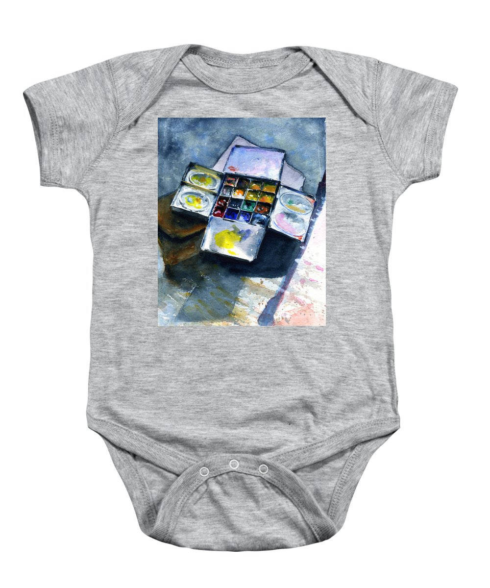 Pallet Baby Onesie featuring the painting Watercolor Pallet by John D Benson