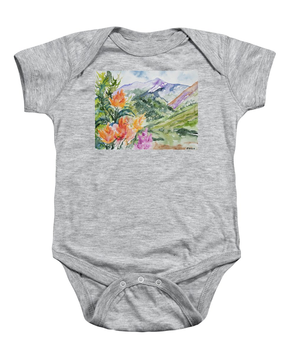 San Juans Baby Onesie featuring the painting Watercolor - San Juans Summer Mountains And Wildflowers by Cascade Colors