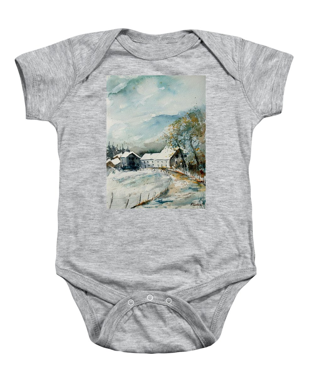 River Baby Onesie featuring the painting Watercolor Sechery 1207 by Pol Ledent