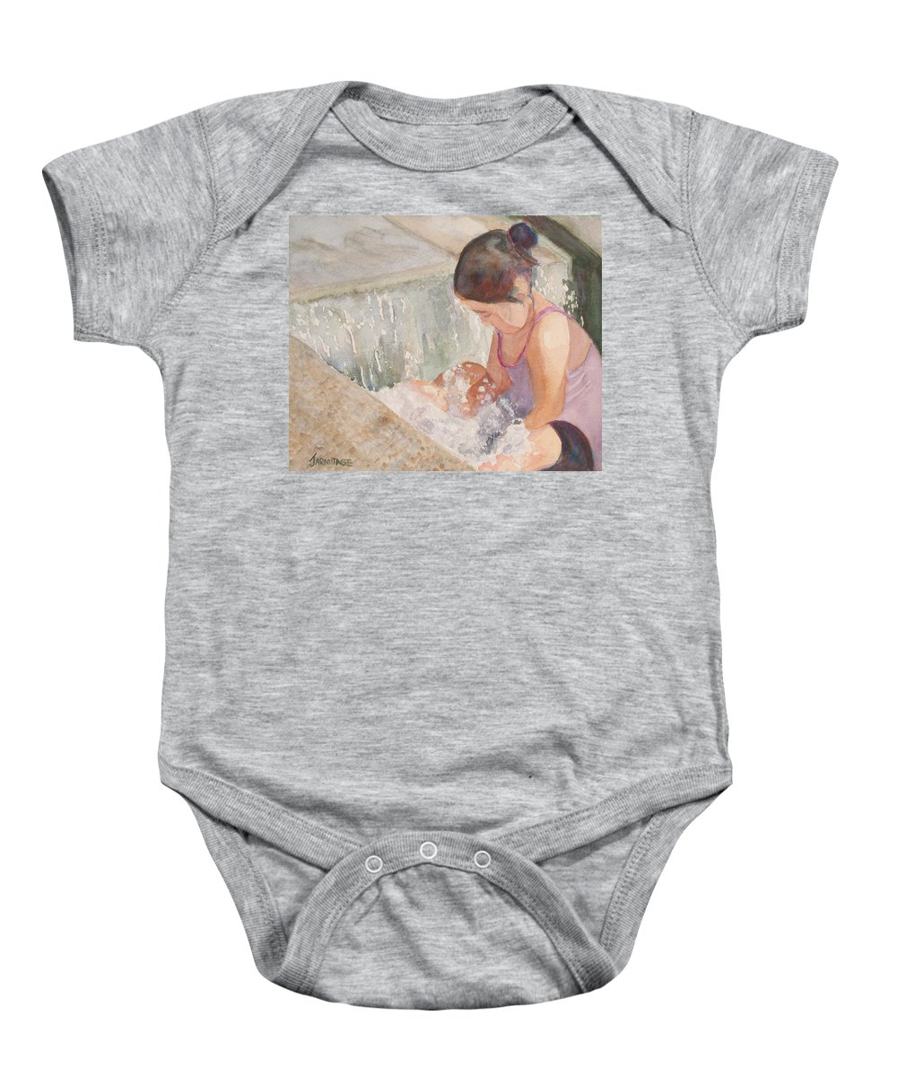 Girl Baby Onesie featuring the painting Waterfall In Her Lap by Jenny Armitage