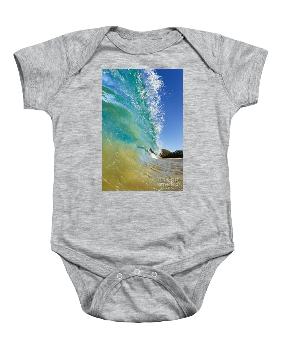 Aqua Baby Onesie featuring the photograph Wave Breaking At Makena by MakenaStockMedia