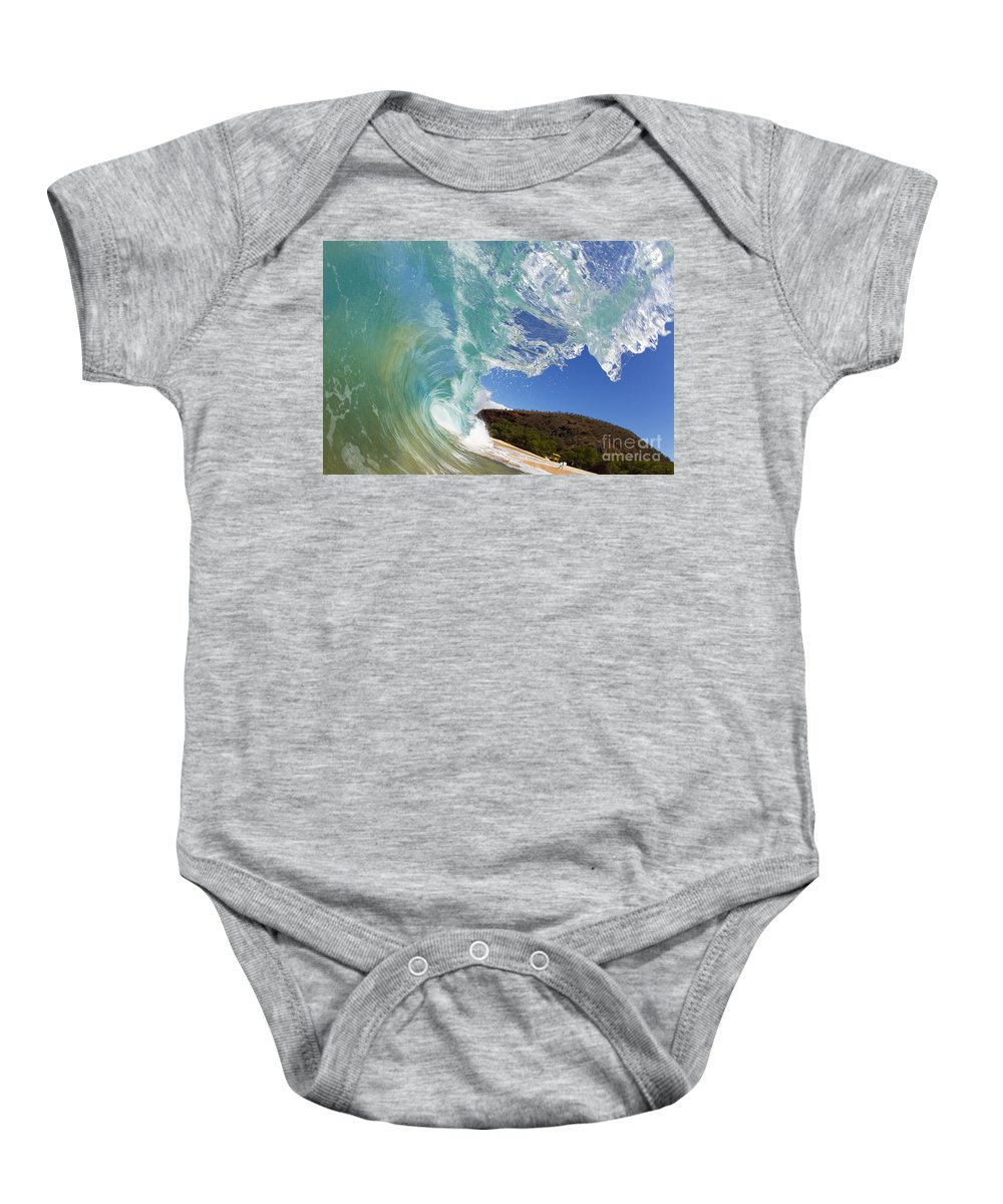 Aqua Baby Onesie featuring the photograph Wave Breaking by MakenaStockMedia - Printscapes