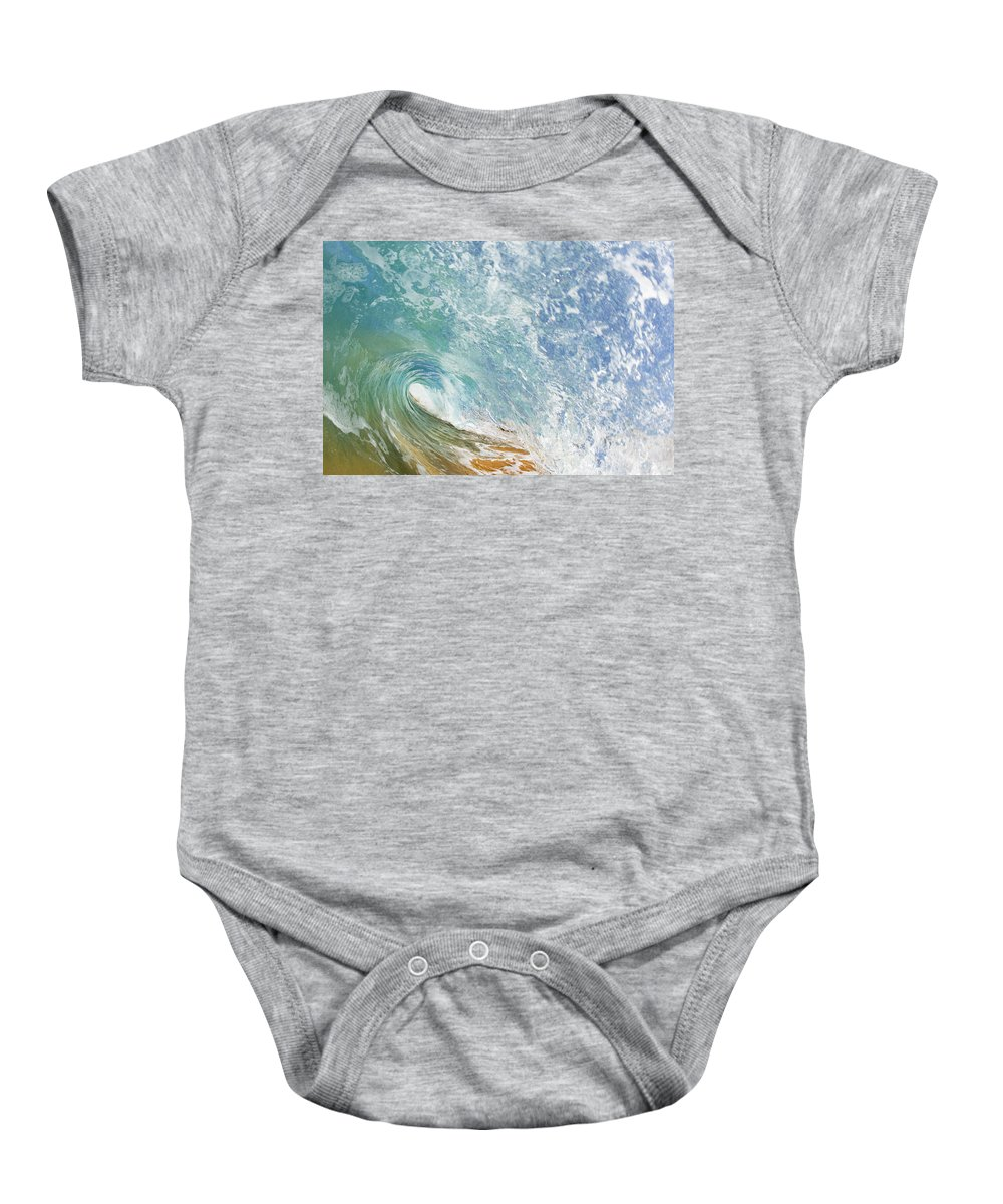 Amazing Baby Onesie featuring the photograph Wave Tube Along Shore by MakenaStockMedia - Printscapes
