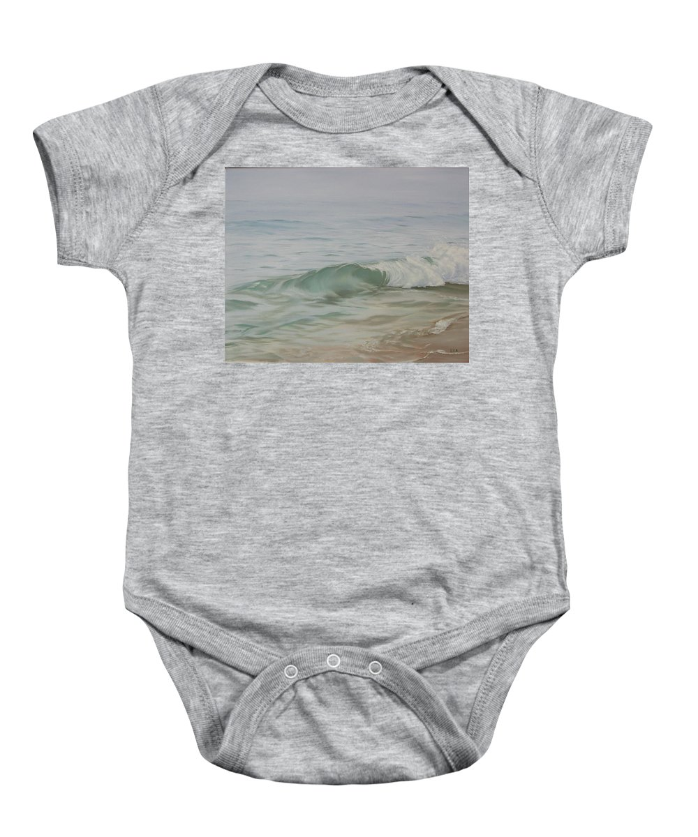 Seascape Baby Onesie featuring the painting Waves Out Of The Fog by Lea Novak