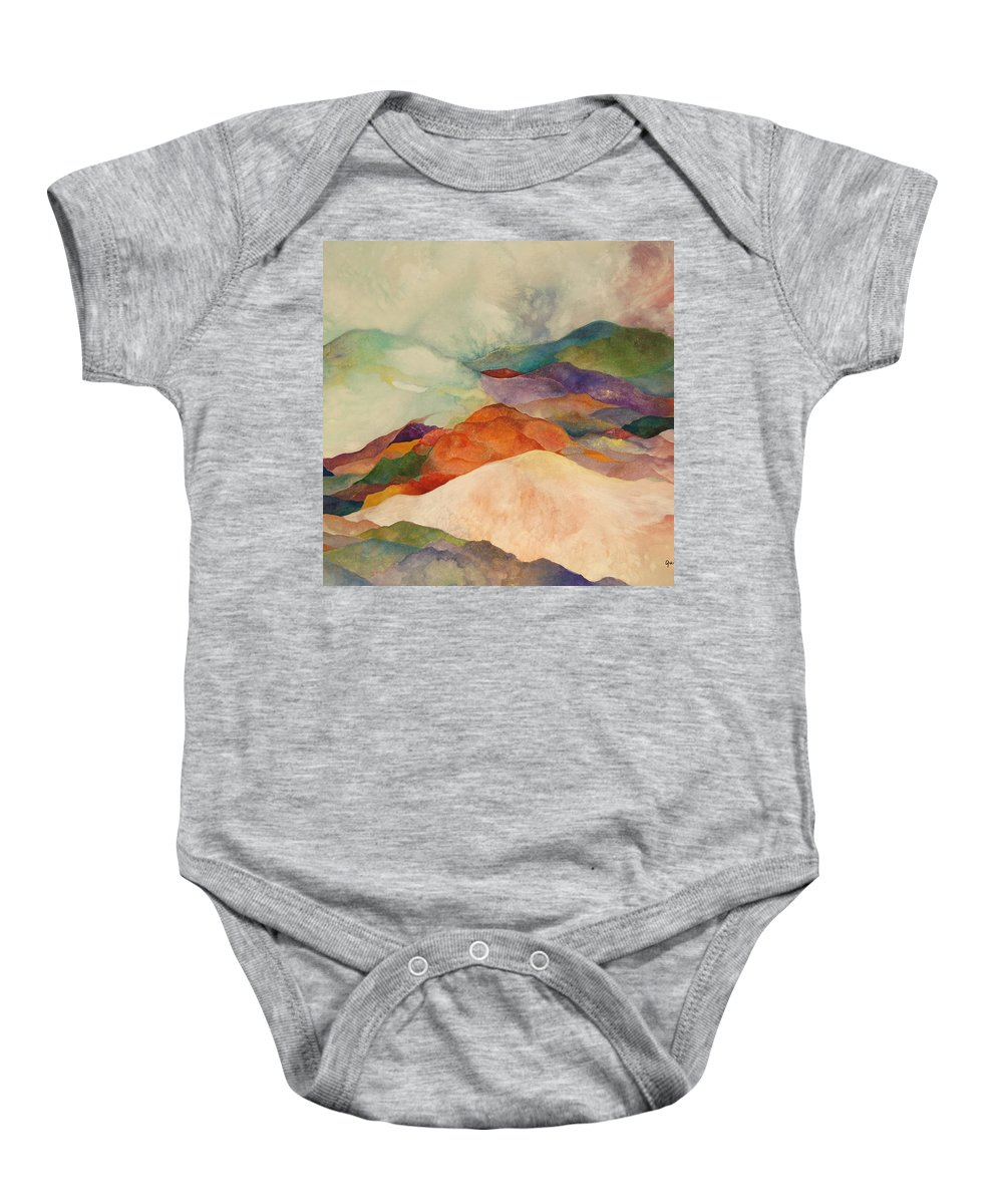 Watercolor Baby Onesie featuring the painting Waves by Peggy Guichu