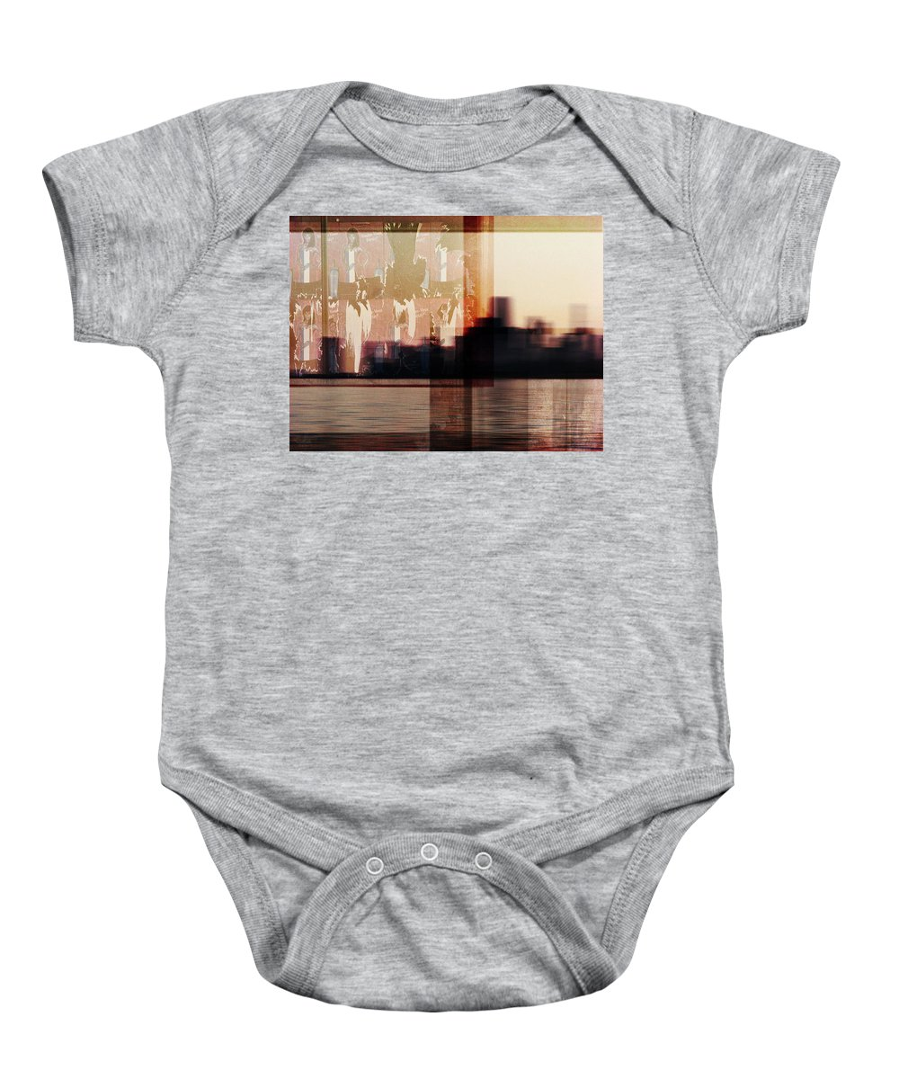 Dipasquale Baby Onesie featuring the photograph We Almost Missed Our Stop On The Train And Ran To Get Off by Dana DiPasquale