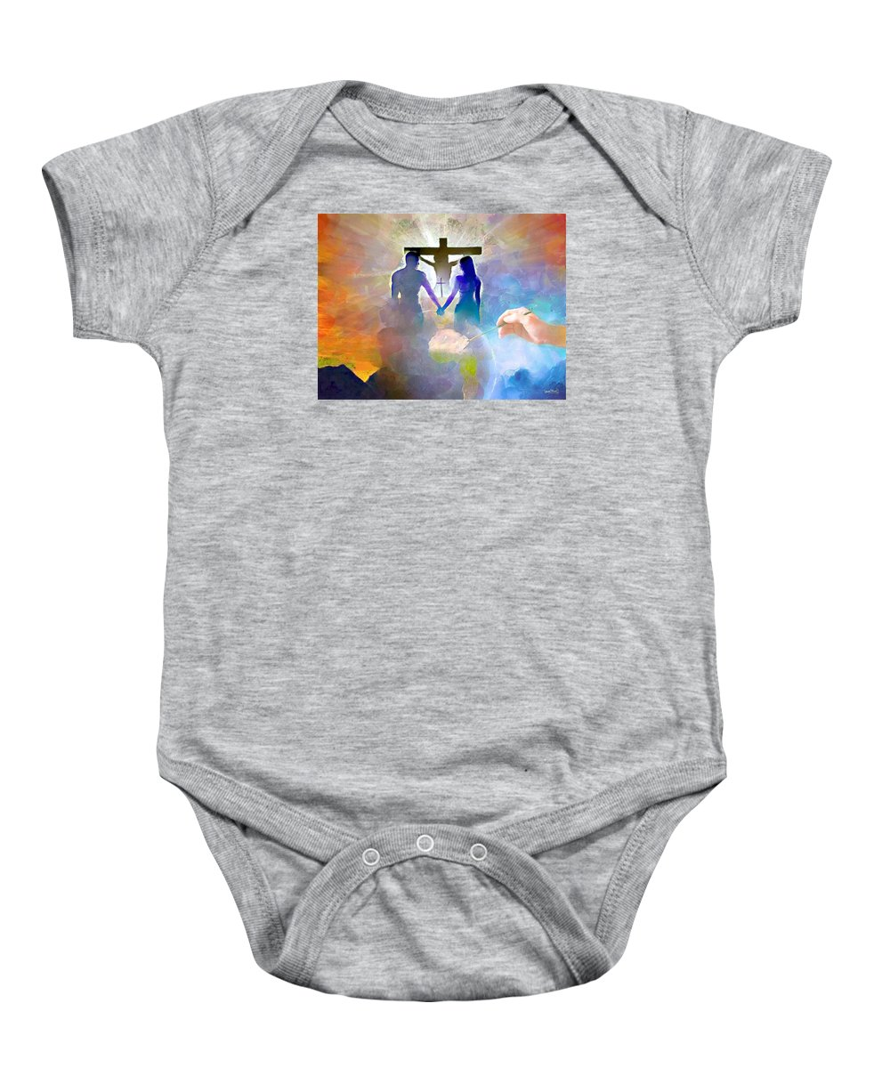Masterpiece Baby Onesie featuring the painting We Are God's Masterpiece by Wayne Pascall