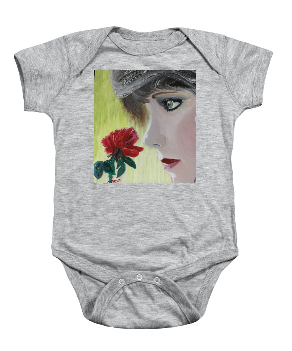 Romance Baby Onesie featuring the painting Wedding Rose by J Bauer
