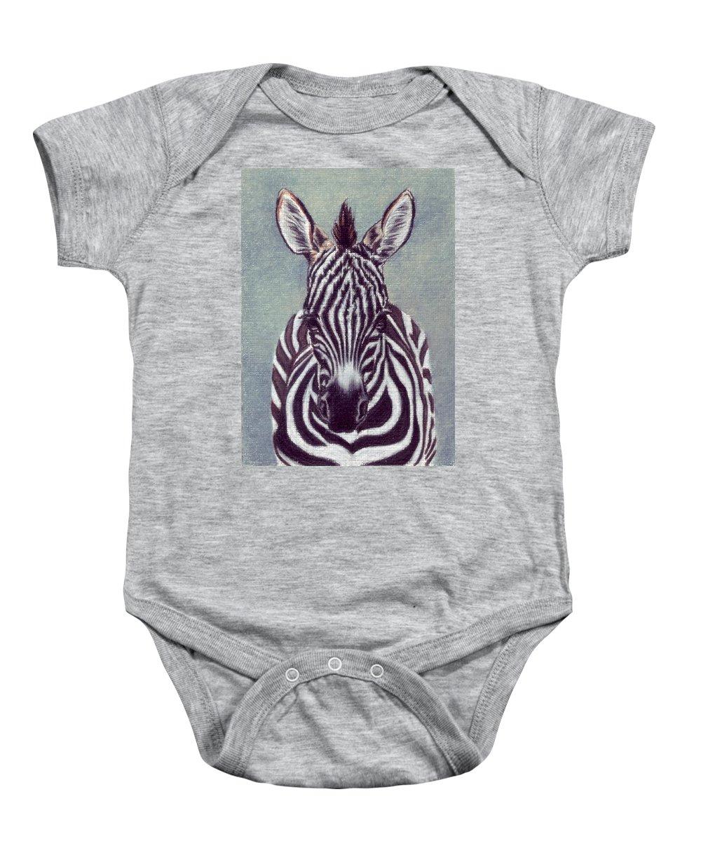 Zebra Baby Onesie featuring the drawing Wee Zeeb by Kristen Wesch