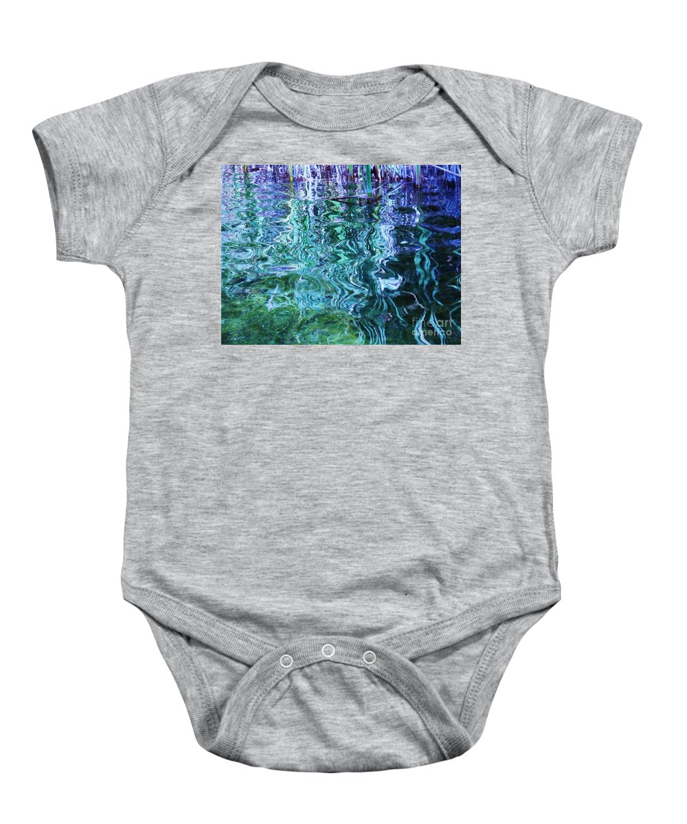 Photograph Blue Green Weed Shadow Lake Water Baby Onesie featuring the photograph Weed Shadows by Seon-Jeong Kim