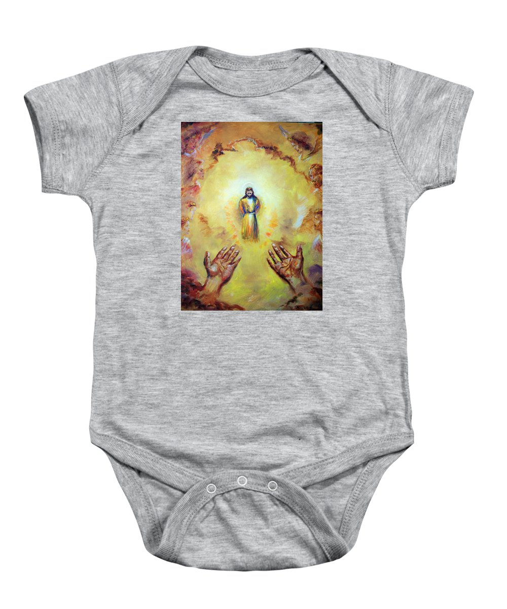 Jesus Christ Baby Onesie featuring the painting Welcome Home by Tommy Winn