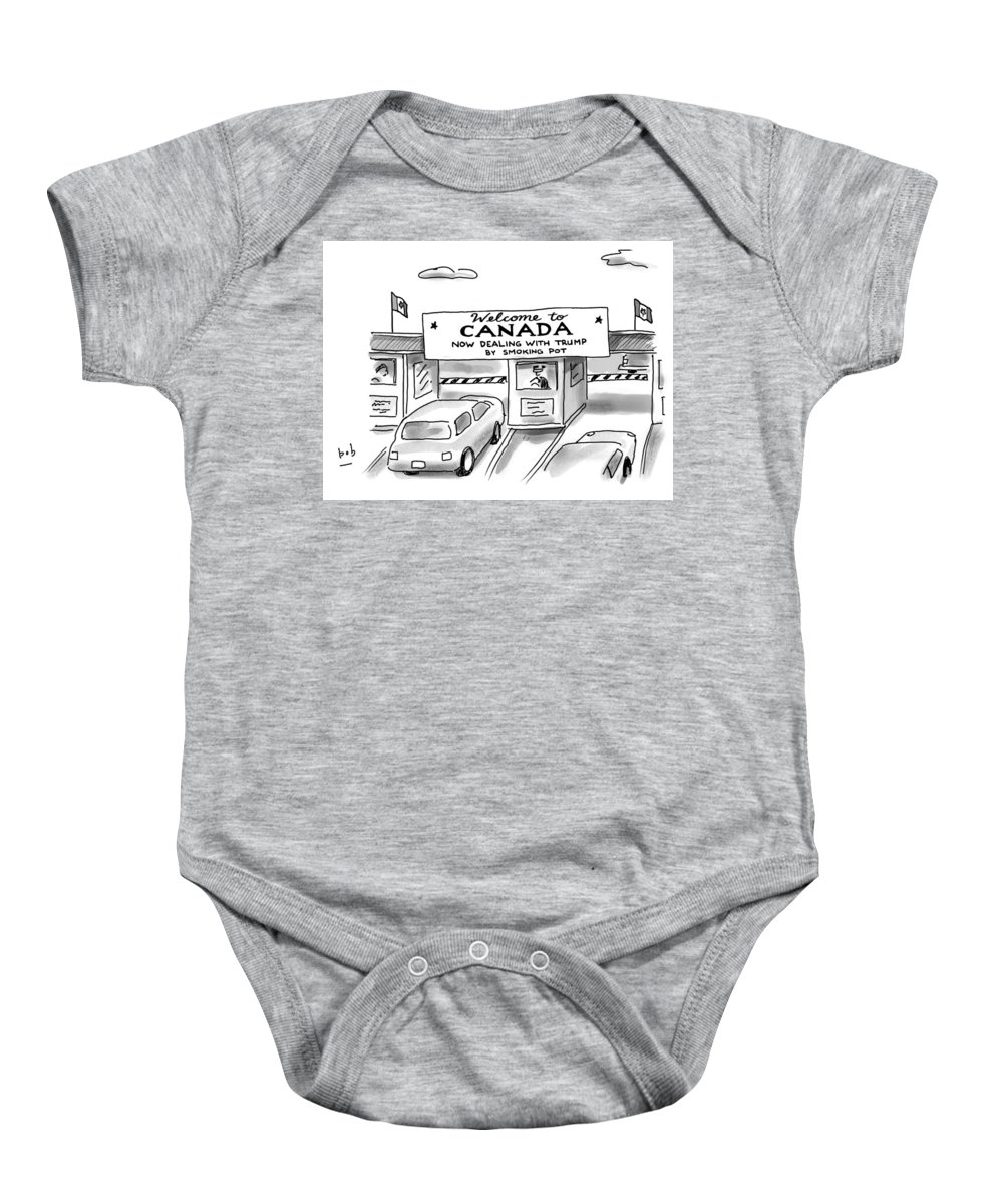 Welcome To Canada Baby Onesie featuring the drawing Welcome To Canada by Bob Eckstein