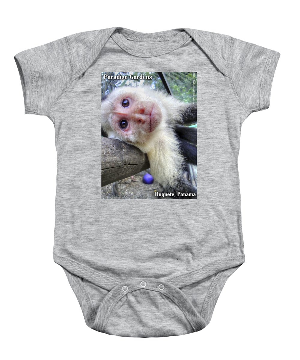Capuchin Monkey Baby Onesie featuring the photograph Welcome To Paradise Gardens by Dolly Sanchez