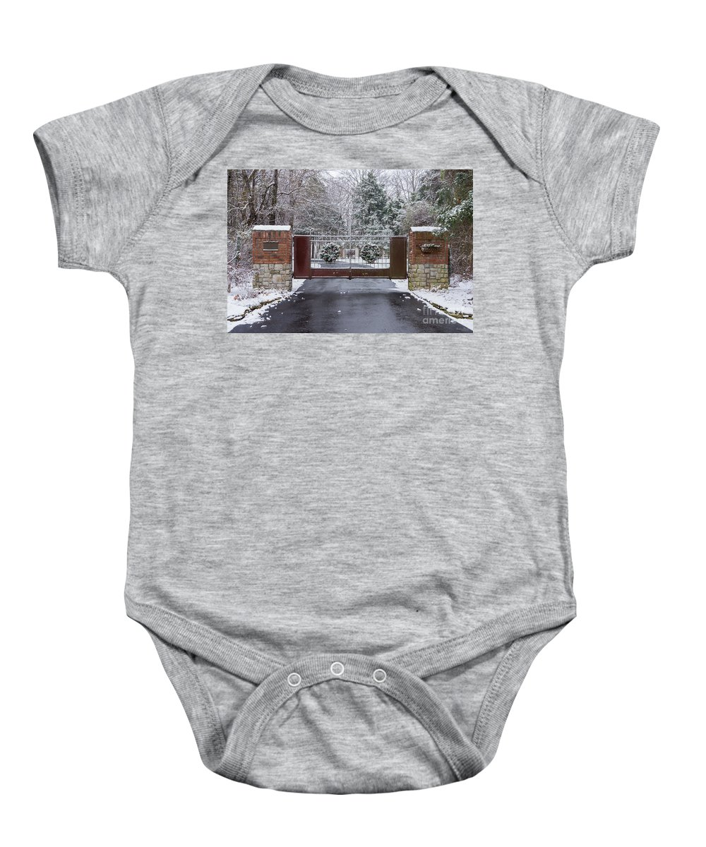 America Baby Onesie featuring the photograph Welcome To Winter by Jennifer White