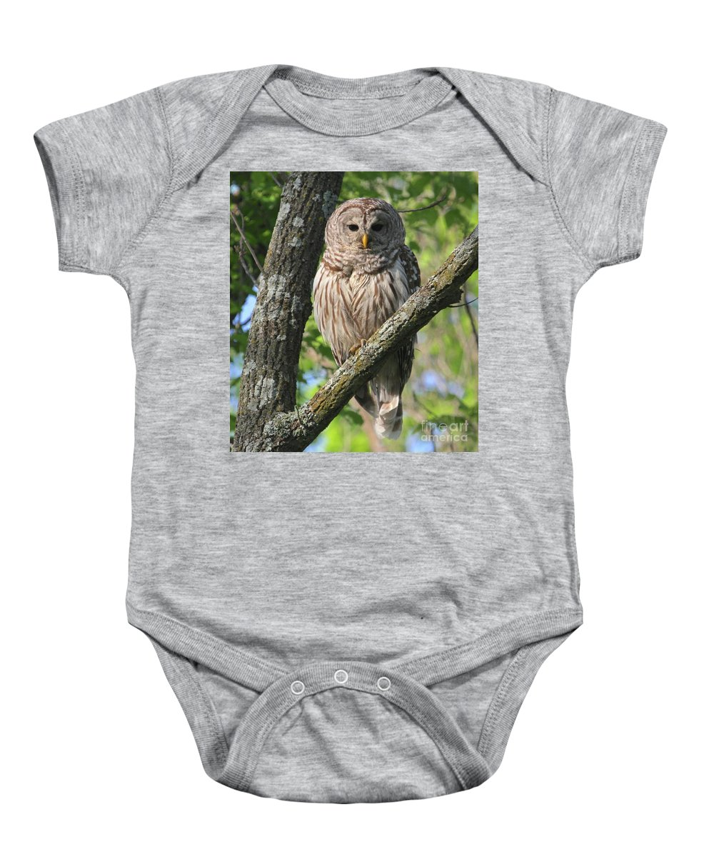 Owl Baby Onesie featuring the photograph Well Hello Big Eyes by Robin Erisman