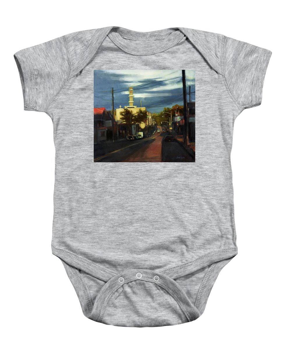 America Baby Onesie featuring the painting West Brighton - October by Sarah Yuster