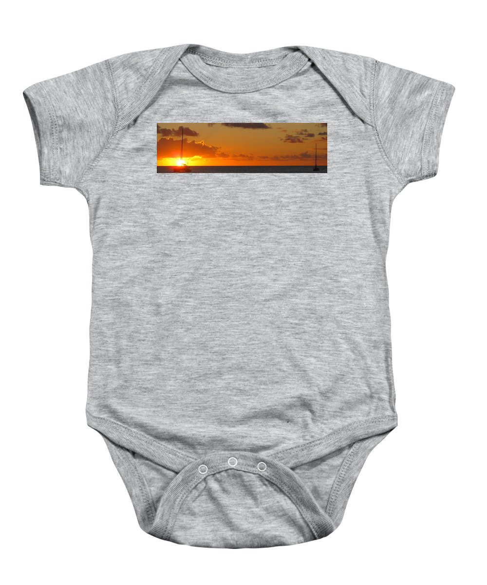 Sun Baby Onesie featuring the photograph West From Frigate Bay by Ian MacDonald