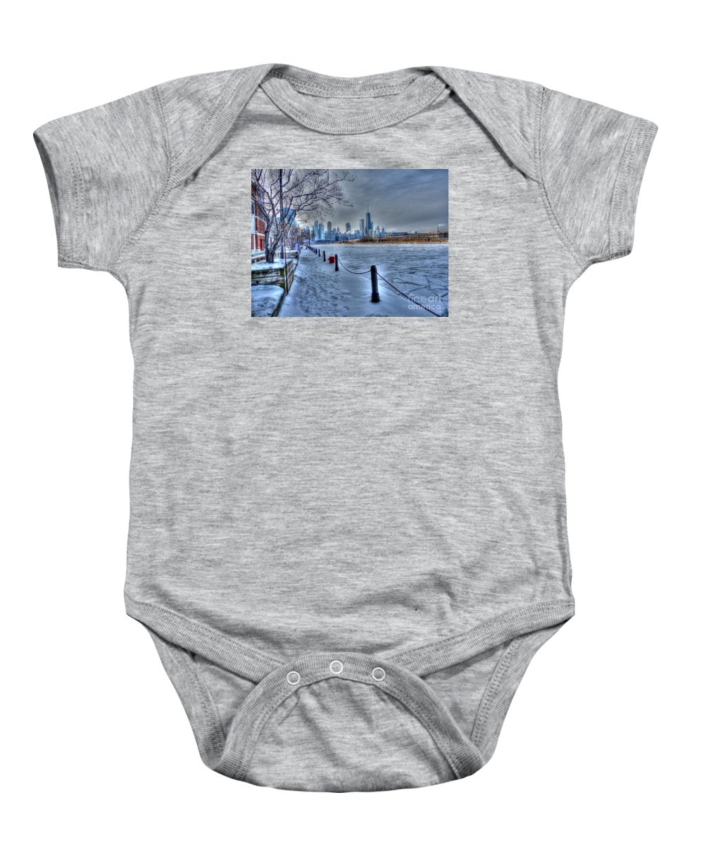 Chicago Illinois Baby Onesie featuring the photograph West From Navy Pier by David Bearden