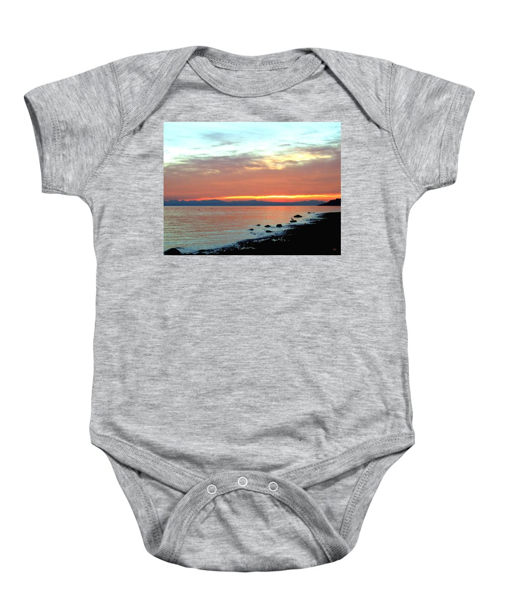 Sunset Baby Onesie featuring the photograph West Vancouver Sunset by Will Borden