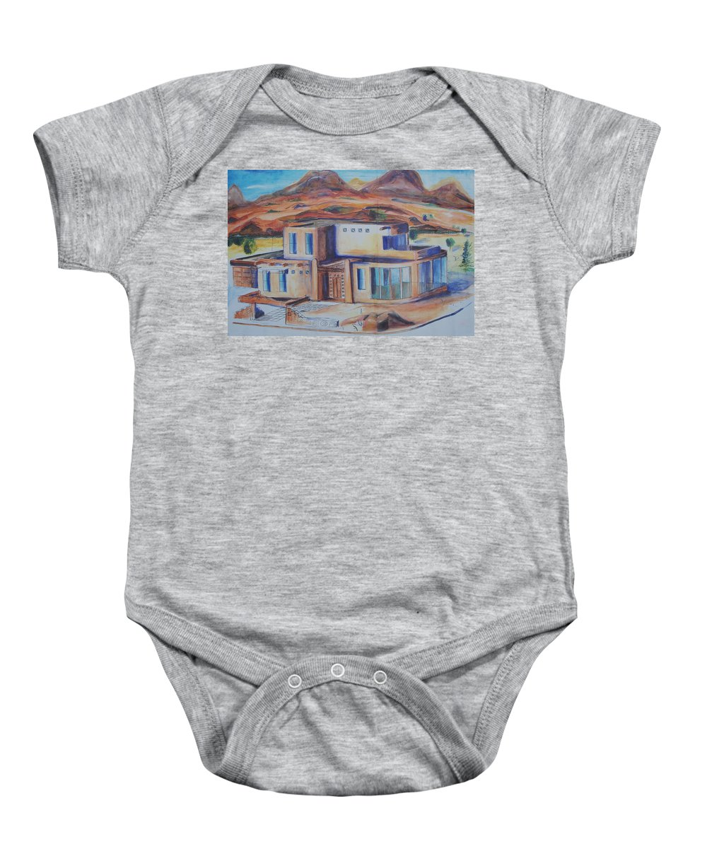 Floral Baby Onesie featuring the painting Western Home Illustration by Eric Schiabor