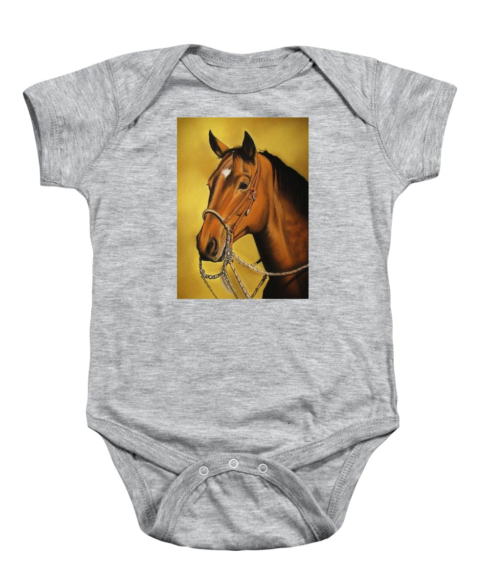 Horse Baby Onesie featuring the pastel Western Horse by Lucy Deane
