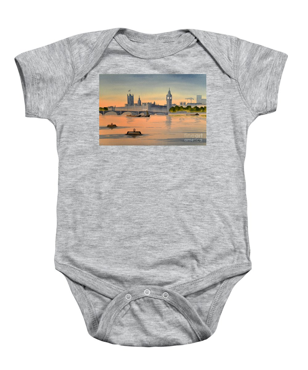 Westminster Baby Onesie featuring the painting Westminster And Big Ben by Bill Holkham