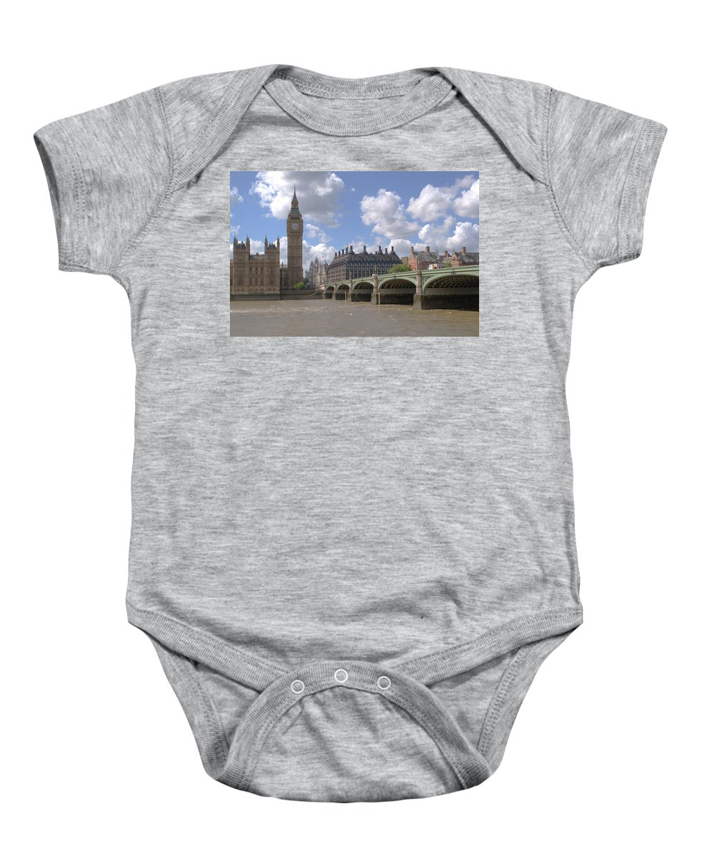 Big Ben Baby Onesie featuring the photograph Westminster Bridge by Chris Day