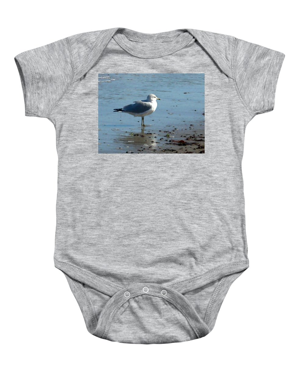 Seagull Baby Onesie featuring the painting Wet Feet by Paul Sachtleben
