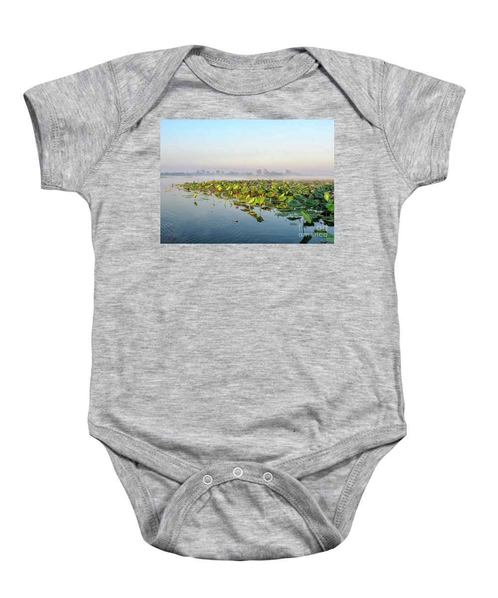 Sunrise Baby Onesie featuring the photograph Wetlands Morning Mist by Genevieve Vallee